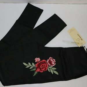 Women High waist leggings faux-fur with embroider